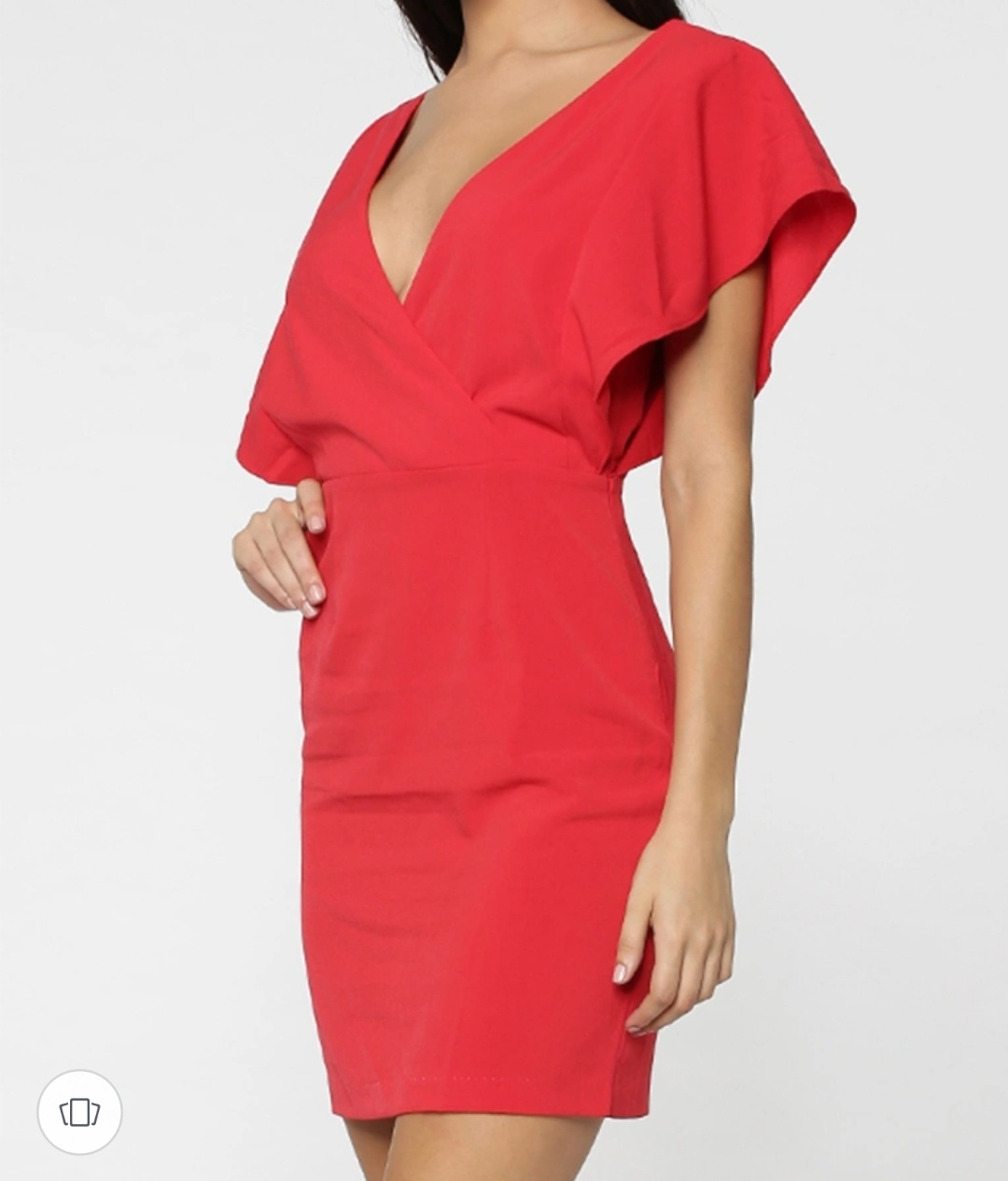 ONLY women's solid red deep plunge neck sheath dress