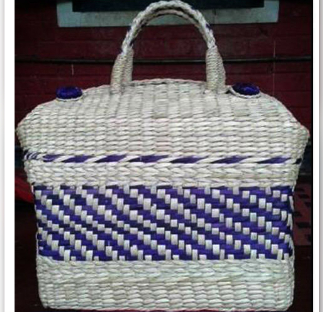 Embroidered Kauna Basket (Blue & Pink)