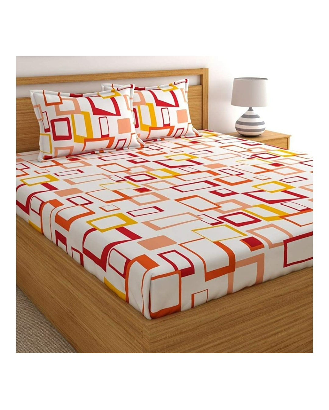 100% Cotton Double bedsheets with 2 Pillow Covers Cotton, 140tc Geometric Multicolour bedsheets for Double Bed Cotton (7.3ft x 7.7ft)