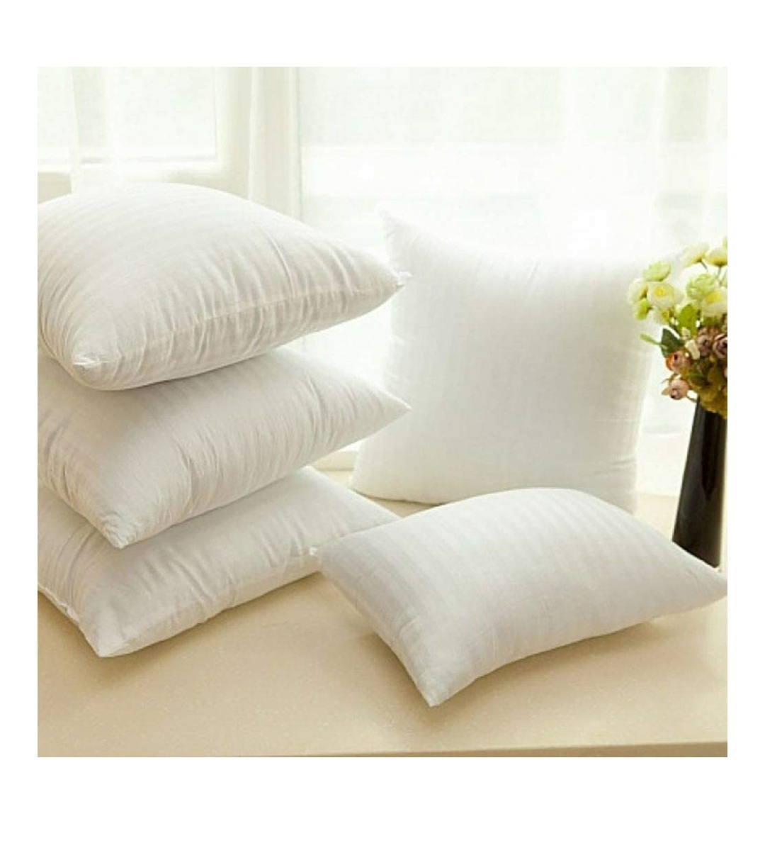 Cloth Fusion Microfiber Satin Striped 16″x16″ Cushion Filler Set of 5-White