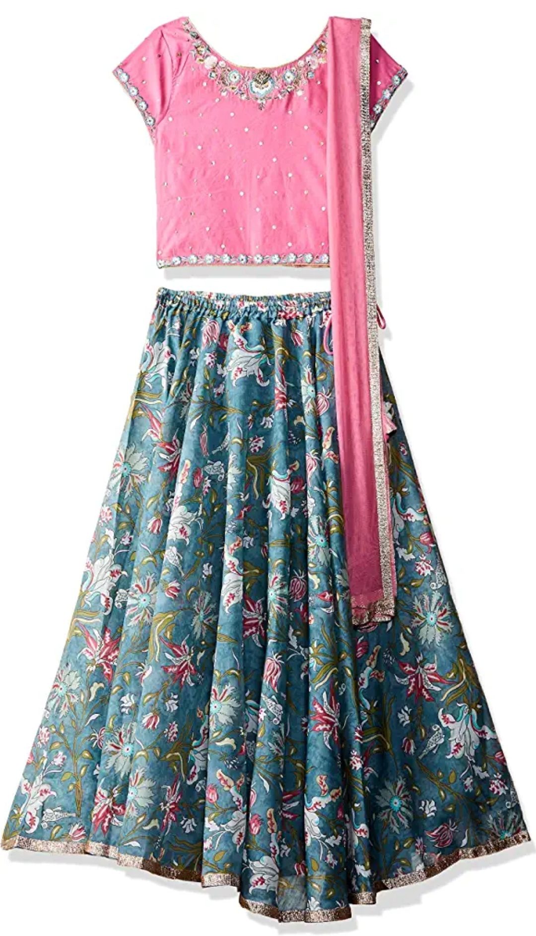 Girl's synthetic Lengha Choli