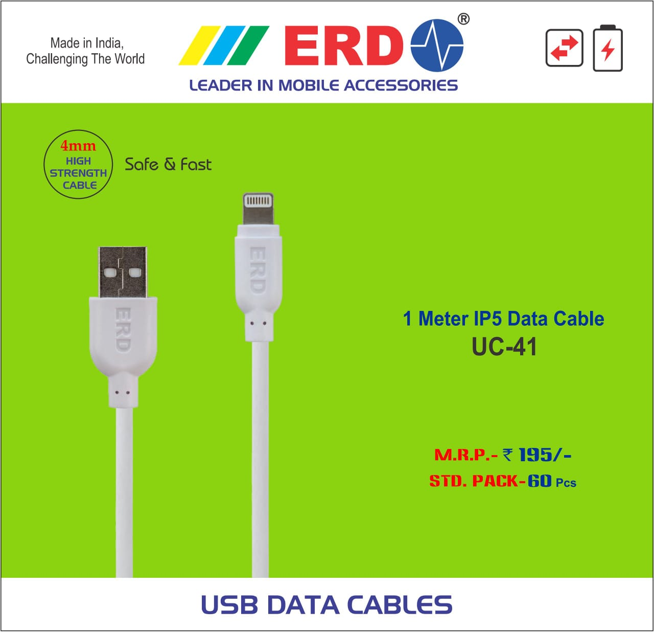 ERD USB DATA CABLES std pack 60 pics